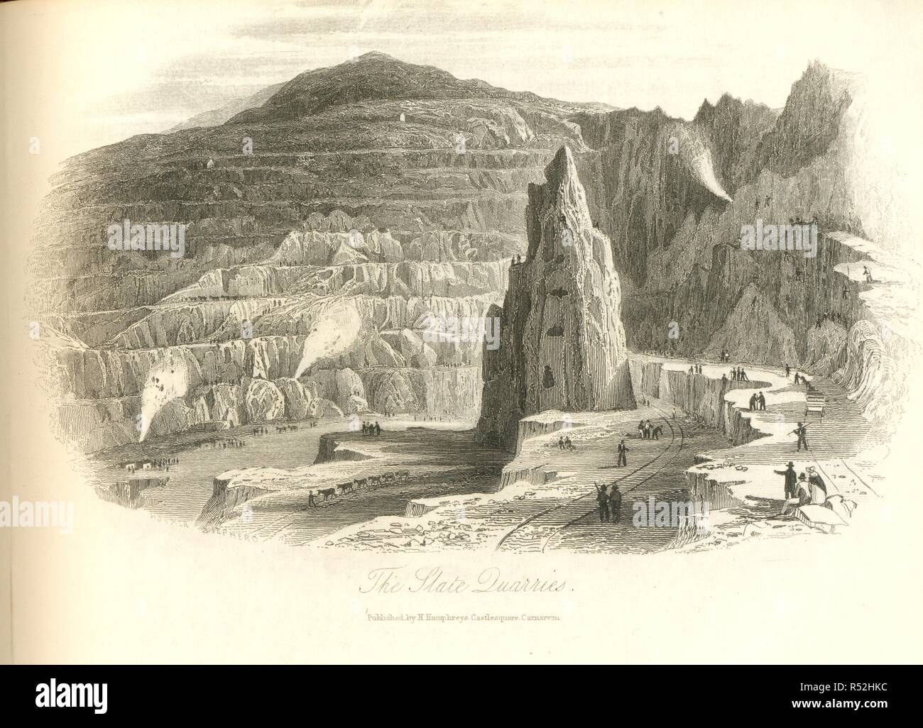 Sheet pictorial writing paper showing The Slate Quarries, Gwynedd, Wales - Stock Image