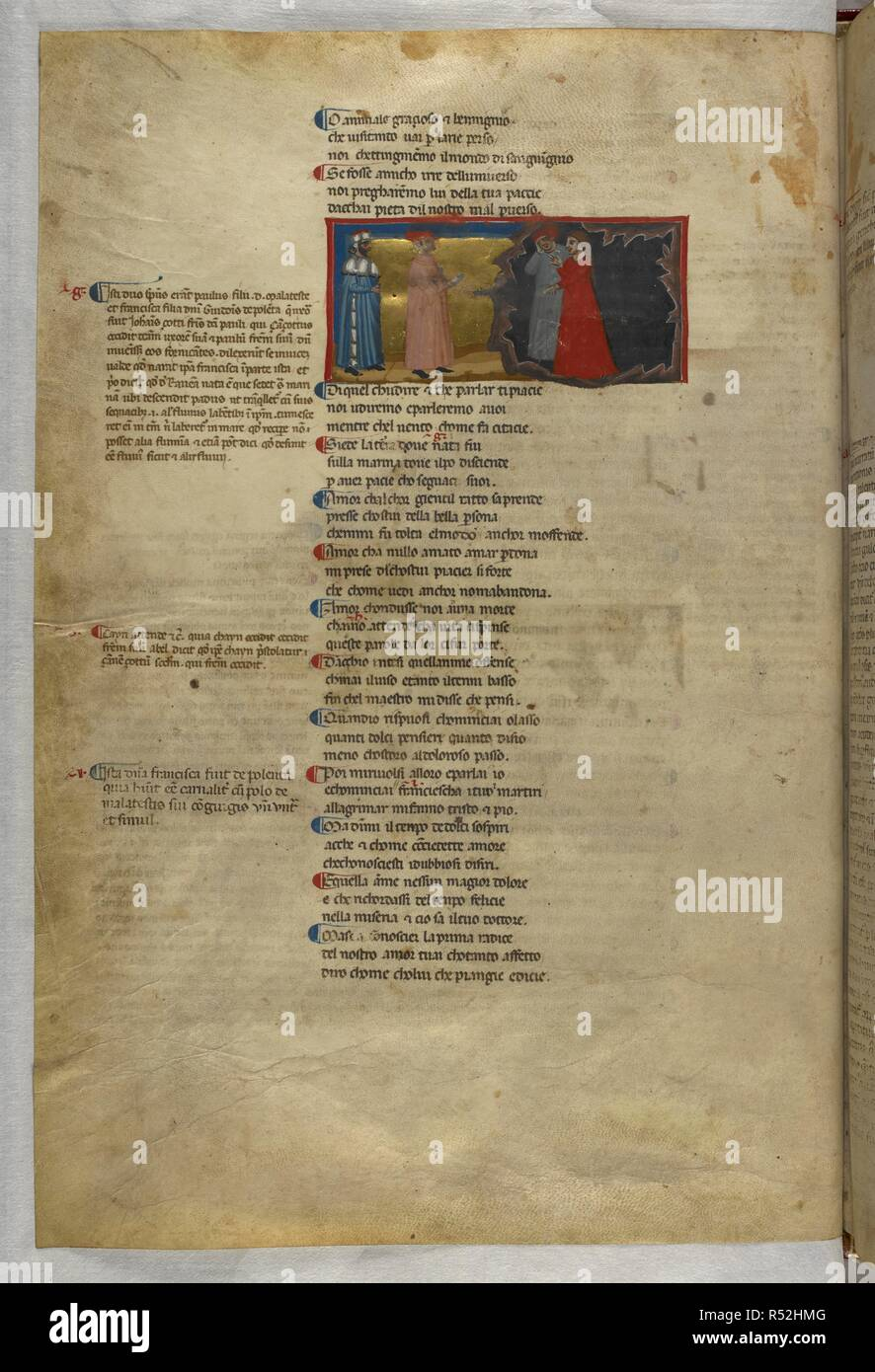 Inferno: Dante and Virgil meeting Paolo and Francesca. Dante Alighieri, Divina Commedia ( The Divine Comedy ), with a commentary in Latin. 1st half of the 14th century. Source: Egerton 943, f.11v. Language: Italian, Latin. - Stock Image