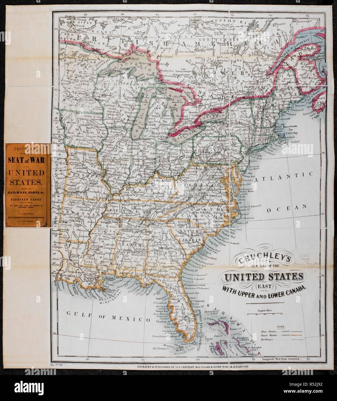 Map Of Upper United States And Lower Canada A map of the United States (East), with Upper and Lower Canada