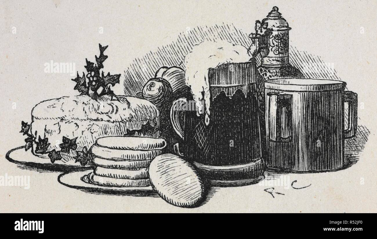 An illustration of a Christmas pudding with other food and drink. Old Christmas. From the Sketch book of Washington Irving. Illustrated by R. Caldecott. London : Macmillan & Co., 1876. Source: YA.1987.a.16643. Author: IRVING, WASHINGTON. Randolph Caldecott. Stock Photo