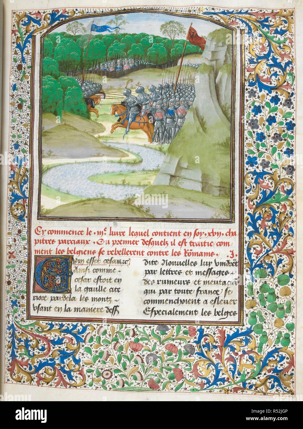 Battle between the Romans and the Gauls (Book 3). Caesar, translated by Jan Du Quesne (or Jean Duchesne), Bellum Gallicum ( Les commentaires de Cesar ). 1473-1476. Source: Royal 16 G. VIII f.116. Language: French. Author: JULIUS CAESAR. Du Quesne, Jehan. - Stock Image