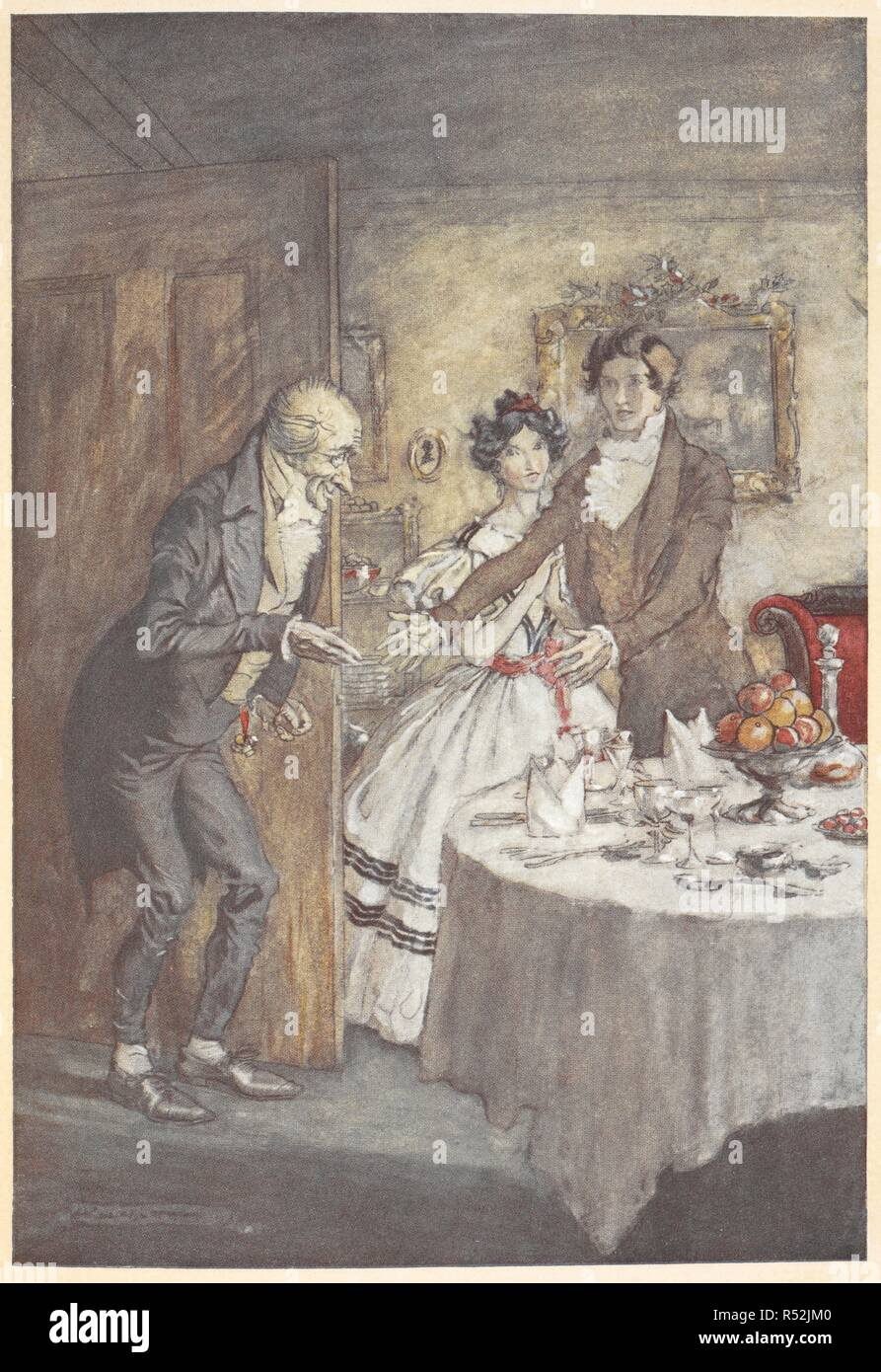Uncle Scrooge Christmas Carol.A Young Man And Woman Welcoming Scrooge For A Meal In Their