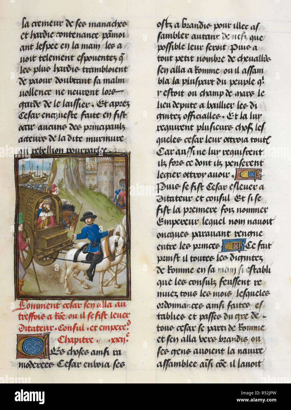 Caesar's trumphant entry into Rome (Book 10, 22). Caesar, translated by Jan Du Quesne (or Jean Duchesne), Bellum Gallicum ( Les commentaires de Cesar ). 1473-1476. Source: Royal 16 G.VIII, f.297. Author: JULIUS CAESAR. Du Quesne, Jehan. Circle of the Master of the London Wavrin. - Stock Image