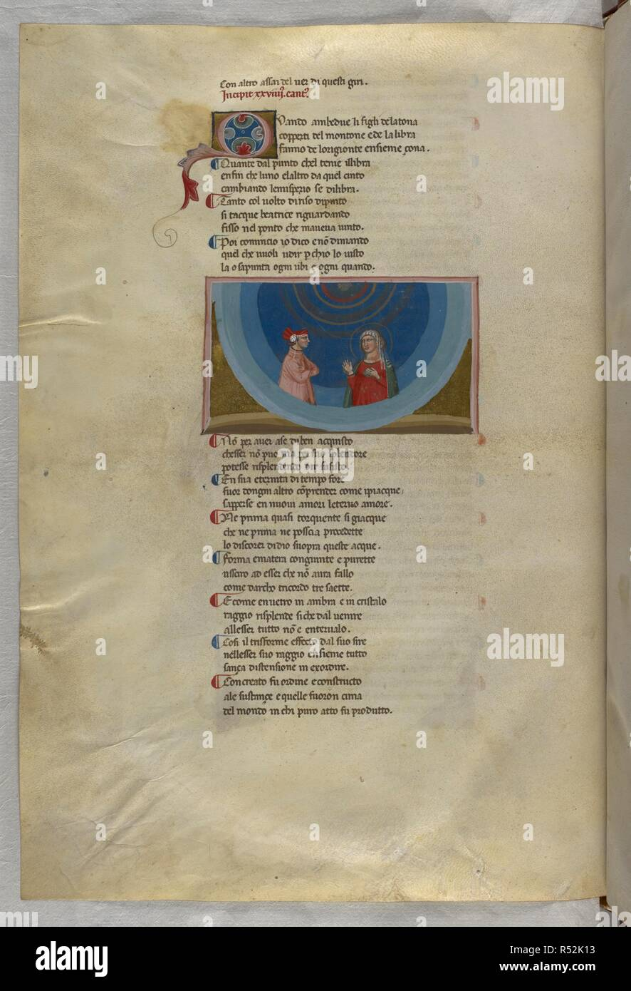 Dante listens to Beatrice's explanation. Dante Alighieri, Divina Commedia ( The Divine Comedy ), with a commentary in Latin. 1st half of the 14th century. Source: Egerton 943, f.177v. Language: Italian, Latin. - Stock Image