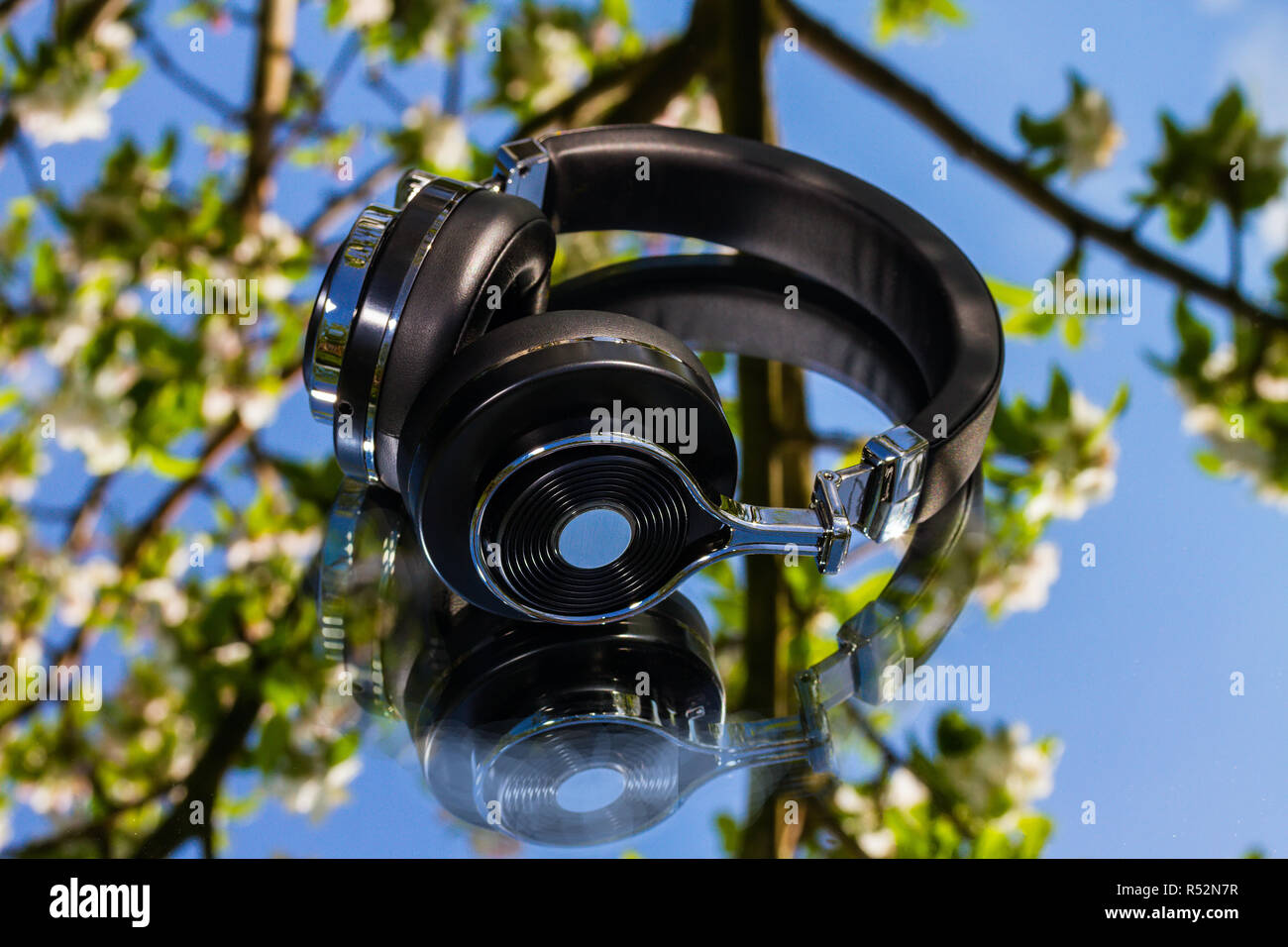 wireless bluetooth travel headphones - Stock Image