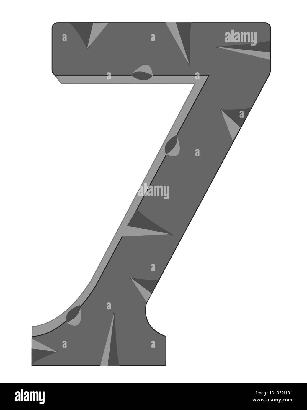 Numeral seven - Stock Image