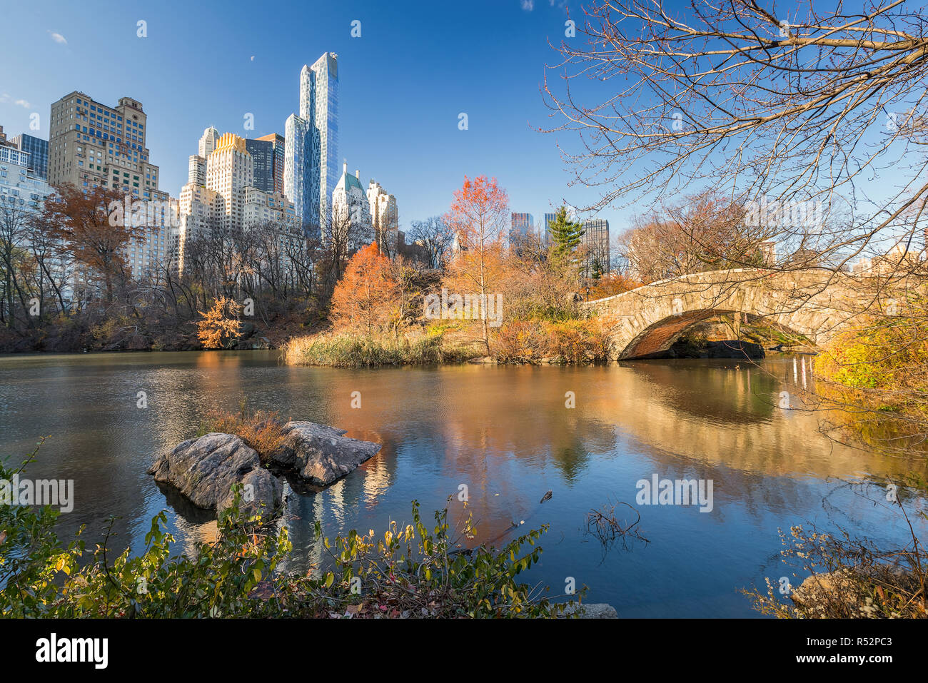 The pond in Central park in New York City at autumn day, USA - Stock Image