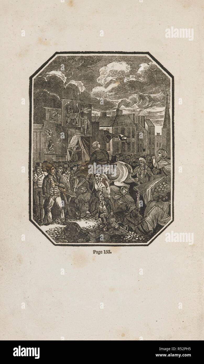A man on horse rides through a dense crowd of people. Bampfylde Moore Carew (1693–1759) was an English rogue, vagabond and imposter, who claimed to be King of the Beggars. The Life of Bamfylde Moore Carew ... to which is added, a dictionary of the mendicants cant phrases. Henry Mozley: Derby, England [1820?]. Source: 010855.a.54 frontispiece. Language: English. - Stock Image