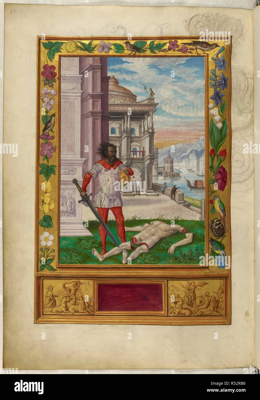 Illustration of the Sixth Parable; a dishevelled man holding a golden head, the dismembered corpse at his feet; borders decorated with birds and flowers. Splendor Solis. Germany, 1582. (Whole folio) Illustration of the Sixth Parable; a dishevelled man holding a golden head, the dismembered corpse at his feet; borders decorated with birds and flowers.  Image taken from Splendor Solis.  Originally published/produced in Germany, 1582. . Source: Harley 3469, f.20v. Language: German. Author: Trismosin, Salomon. Stock Photo
