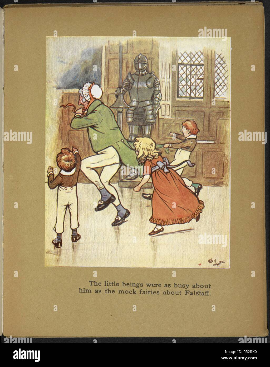 The little beings were as busy about him as the mock fairies about Falstaff - Children playing with an old man. Christmas Day. (Christmas Eve.) [From the Sketch Book.] ... Pictured in colour by Cecil Aldin. London : Hodder & Stoughton, [1910]. From 'Christmas Day'. Source: 12350.v.23. plate 4. Stock Photo