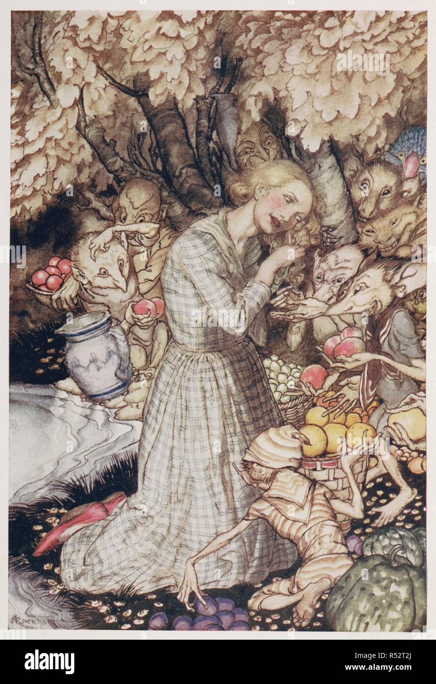 578bbef3c68b4 Illustration of a girl with goblins under a tree. Goblin Market ...  Illustrated