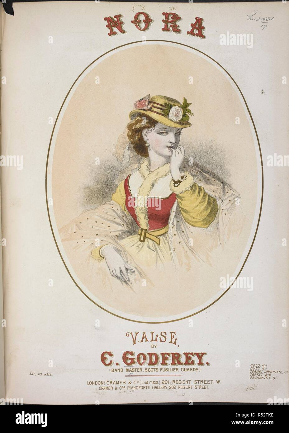 Music cover with the portrait of a young woman. Nora valse. [P. F.]. London, [1866]. Source: h.2931.(19). Author: GODFREY, CHARLES. - Stock Image