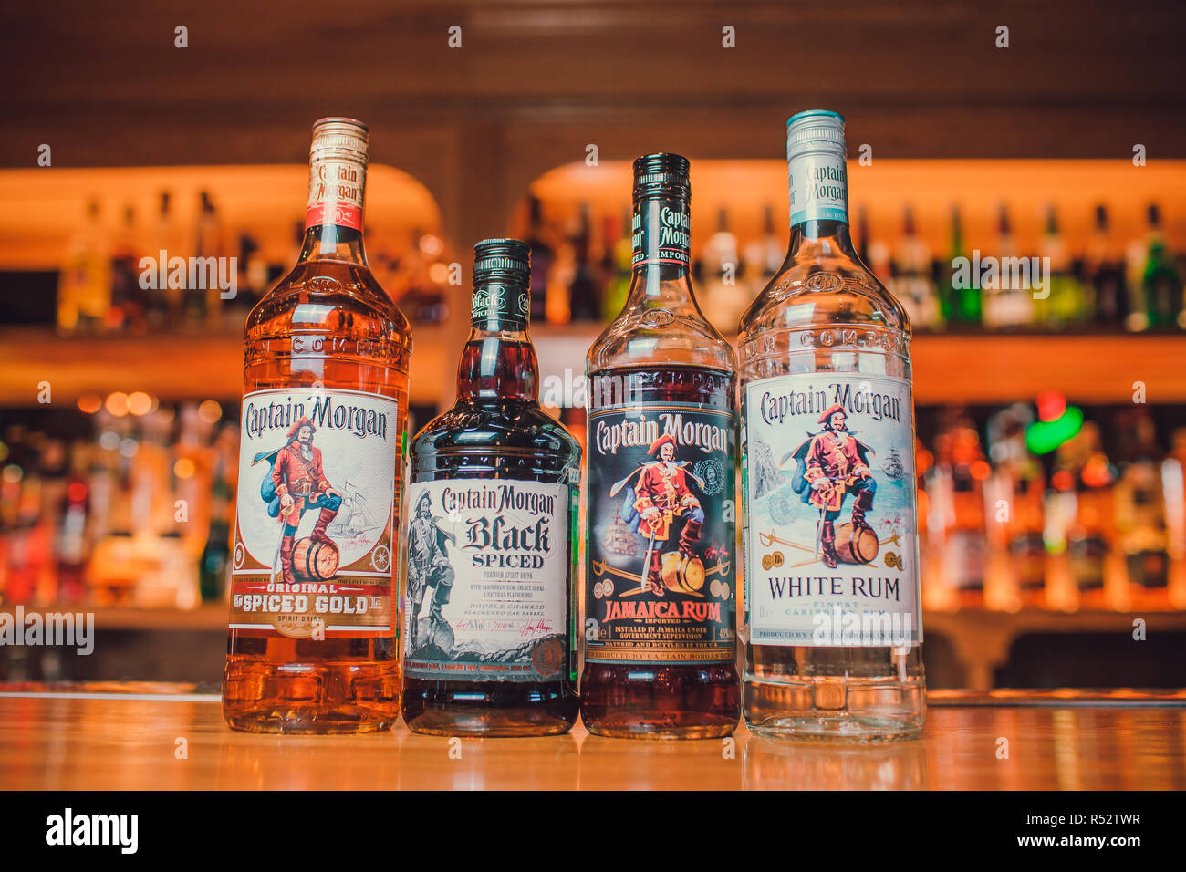 Ufa, Russia, Darling Bar, 20 November, 2018: Originated on US Virgin Islands Captain Morgan is a brand of rum produced by Diageo. - Stock Image