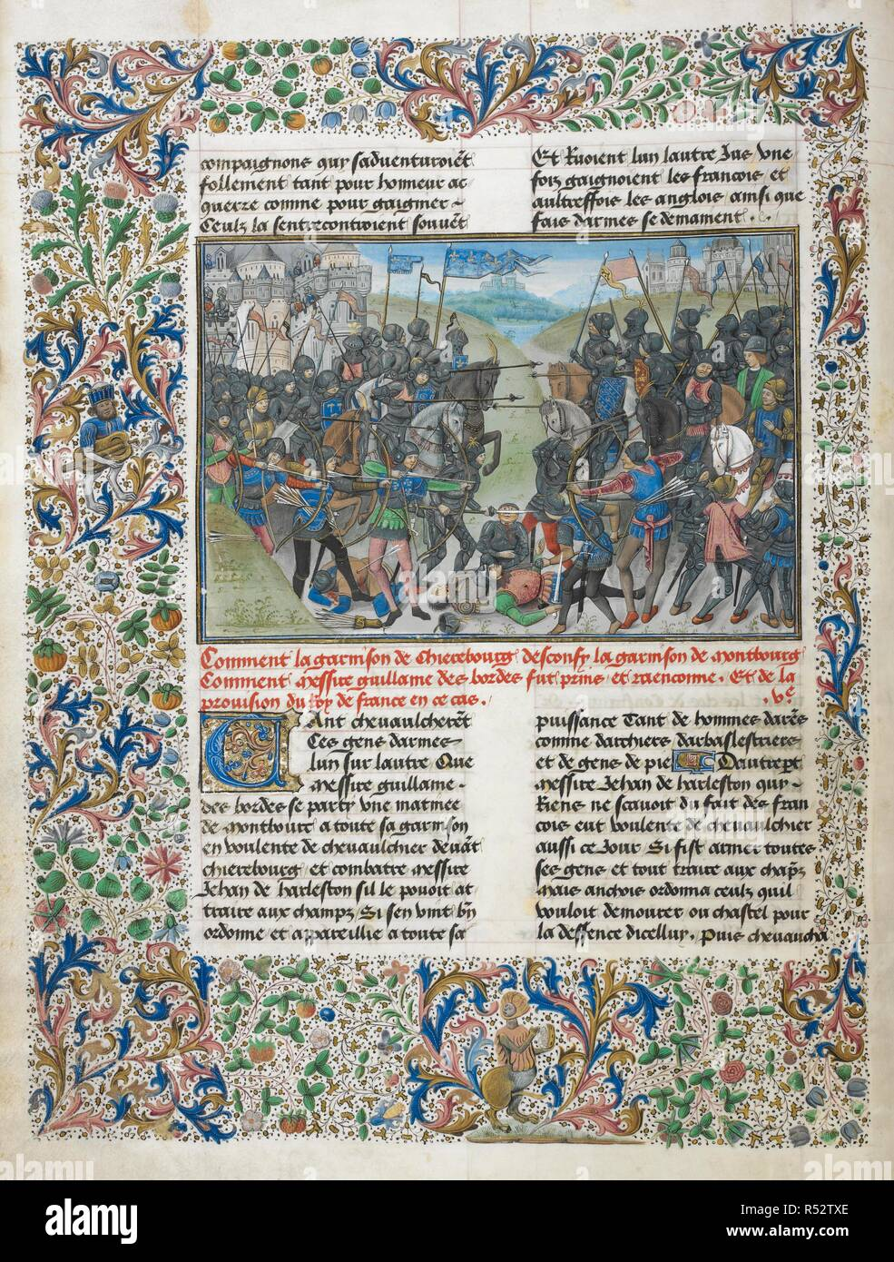 Fight of the garrisons of Cherbourg and Montebourg. Anciennes et nouvelles chroniques d'Angleterre (also known as Recueil des croniques d'Engleterre). France, N. E. (Lille?) and Netherlands, S. (Bruges) Date c. 1470- c. 1480. Source: Royal 14 E. IV, f.14v. Language: French. Author: WAVRIN, JEAN DE. Seigneur de Forestel. - Stock Image