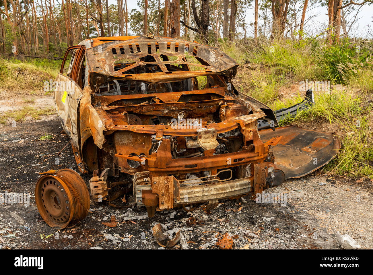 A burnt out car left to rot in the coutryside, just another one of many social issues around the world. - Stock Image