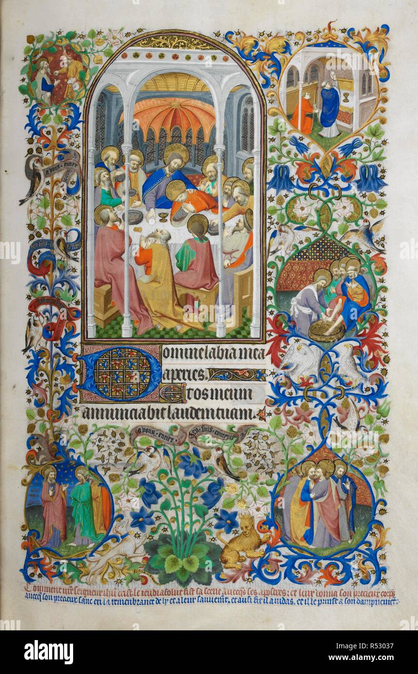 Hours of the Holy Sacrament [for Thursday]. The Last Supper. Text with decorated initial 'D'. Decorated borders with marginal scenes, including a priest at Mass, the Washing of the Disciple's Feet and the story of Judas. Bedford Hours. Paris; 1414-1423. Source: Add. 18850, f.138. Language: Latin and French. Author: Workshop of the Master of the Duke of Bedford. - Stock Image
