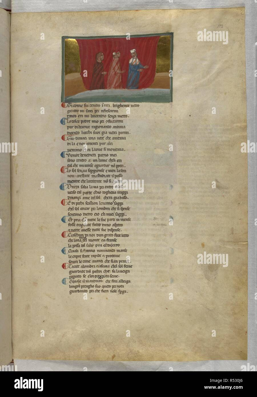 Purgatorio: The three pass through the fire. Dante Alighieri, Divina Commedia ( The Divine Comedy ), with a commentary in Latin. 1st half of the 14th century. Source: Egerton 943, f.112. Language: Italian, Latin. - Stock Image