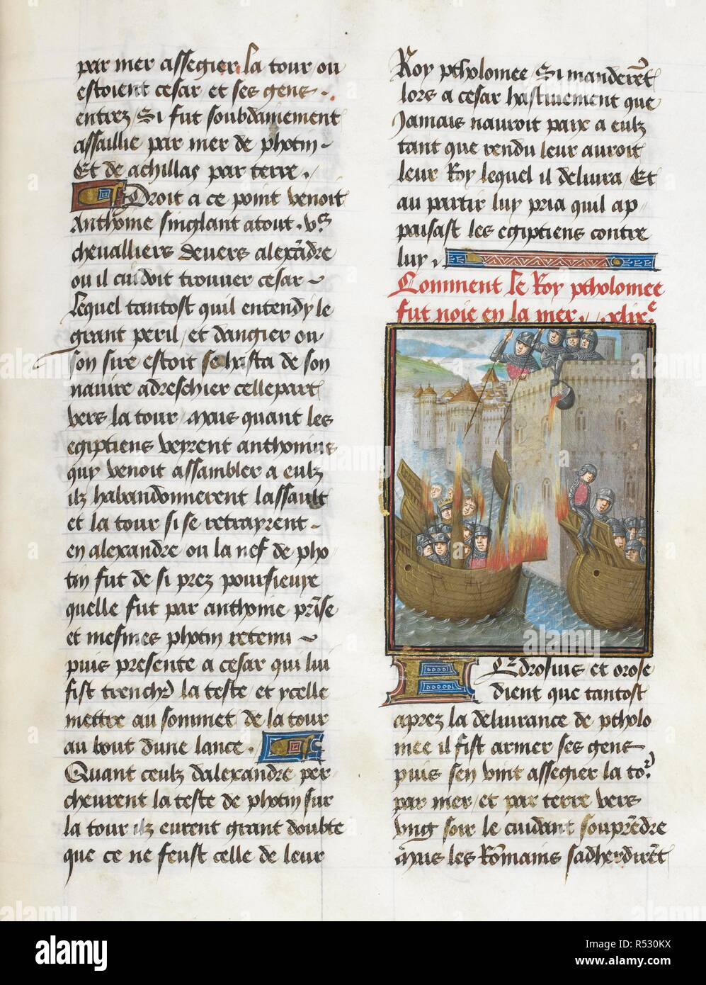 King Ptolemy's fleet atacking a city ((Book 10, 49). Caesar, translated by Jan Du Quesne (or Jean Duchesne), Bellum Gallicum ( Les commentaires de Cesar ). 1473-1476. Source: Royal 16 G.VIII, f.317v. Author: JULIUS CAESAR. Du Quesne, Jehan. Circle of the Master of the London Wavrin. - Stock Image