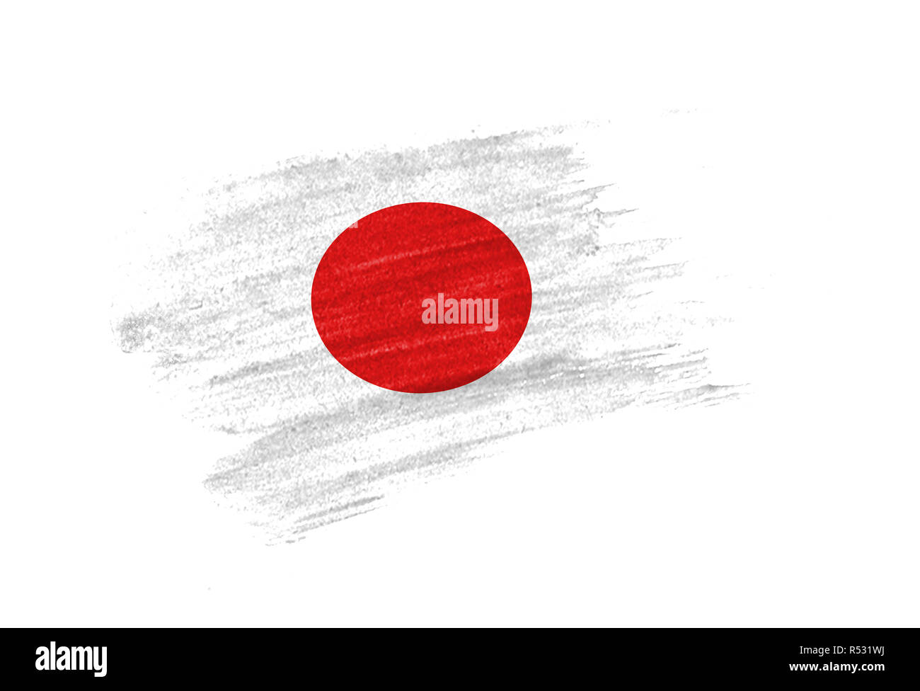 brush painted flag of . The hands of men make a photo from the phone. Shooting from the smartphone. Stock Photo