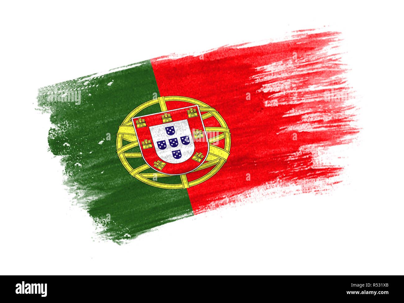 brush painted flag Portugal. Hand drawn style flag of Portugal Stock Photo  - Alamy
