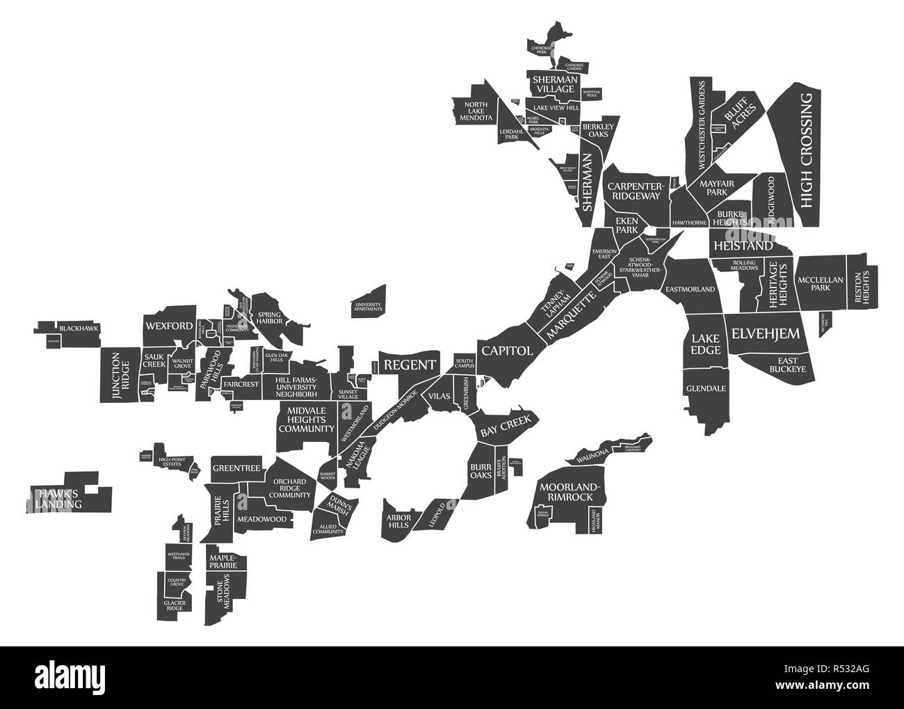 Madison Wisconsin City Map USA labelled black illustration Stock Vector