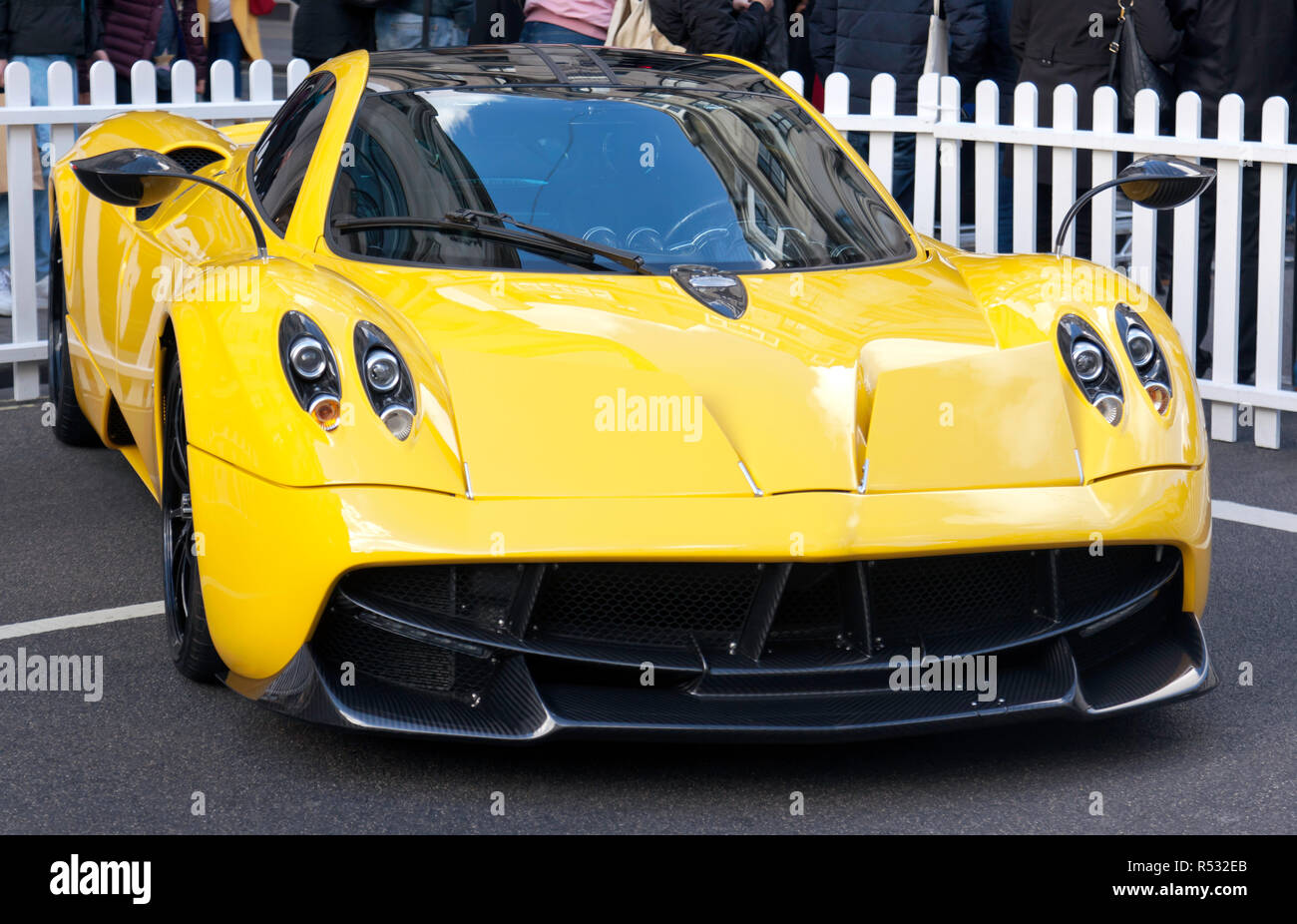 Three-quarter front view of  a  Pagani Huayra, in the supercar paddock at the 2018 Regents Street Motor Show Stock Photo