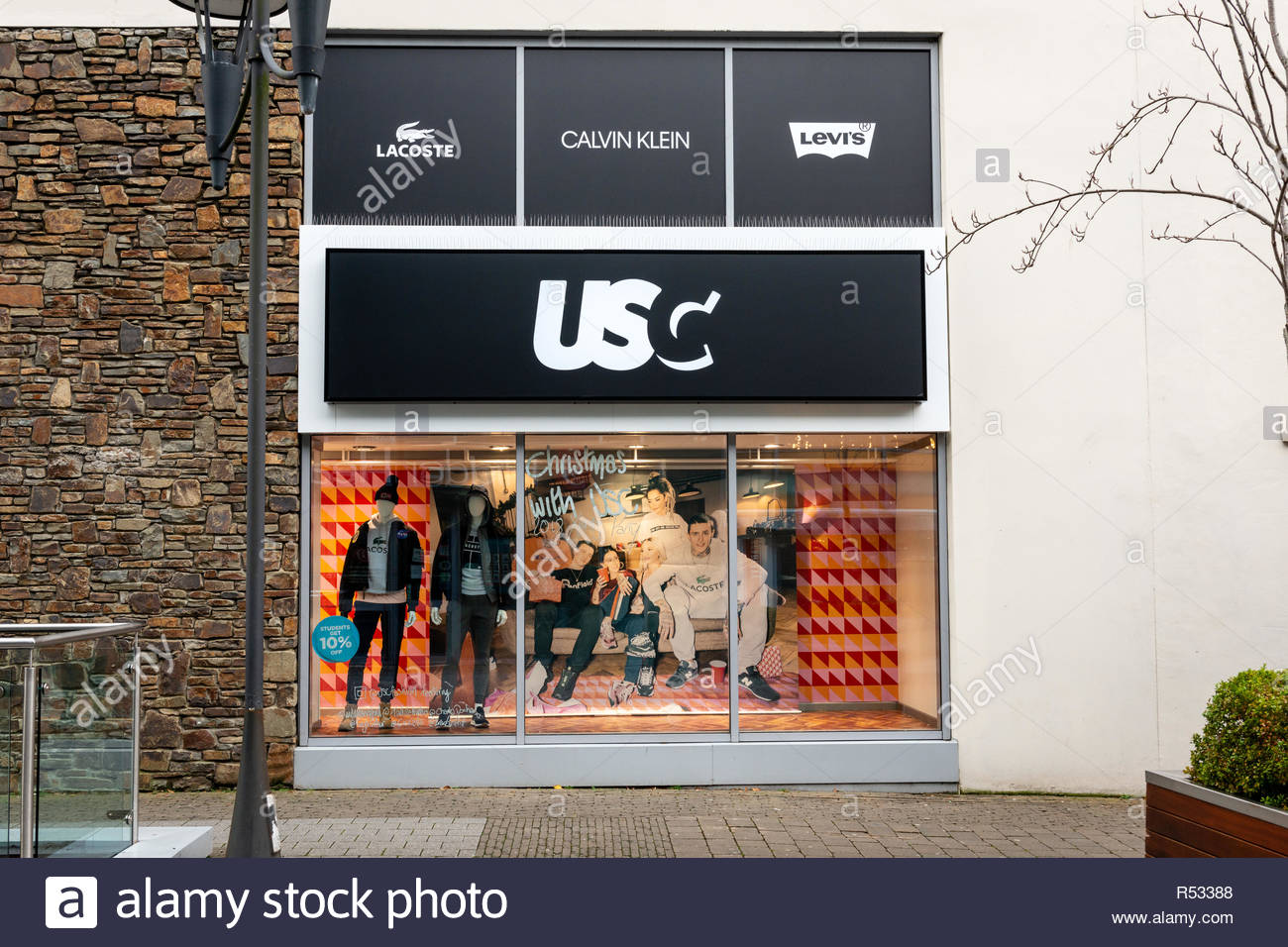 USC shop front, part of the newly opened 'Sports Direct' store on Scotts Street. Killarney, County Kerry, Ireland - Stock Image