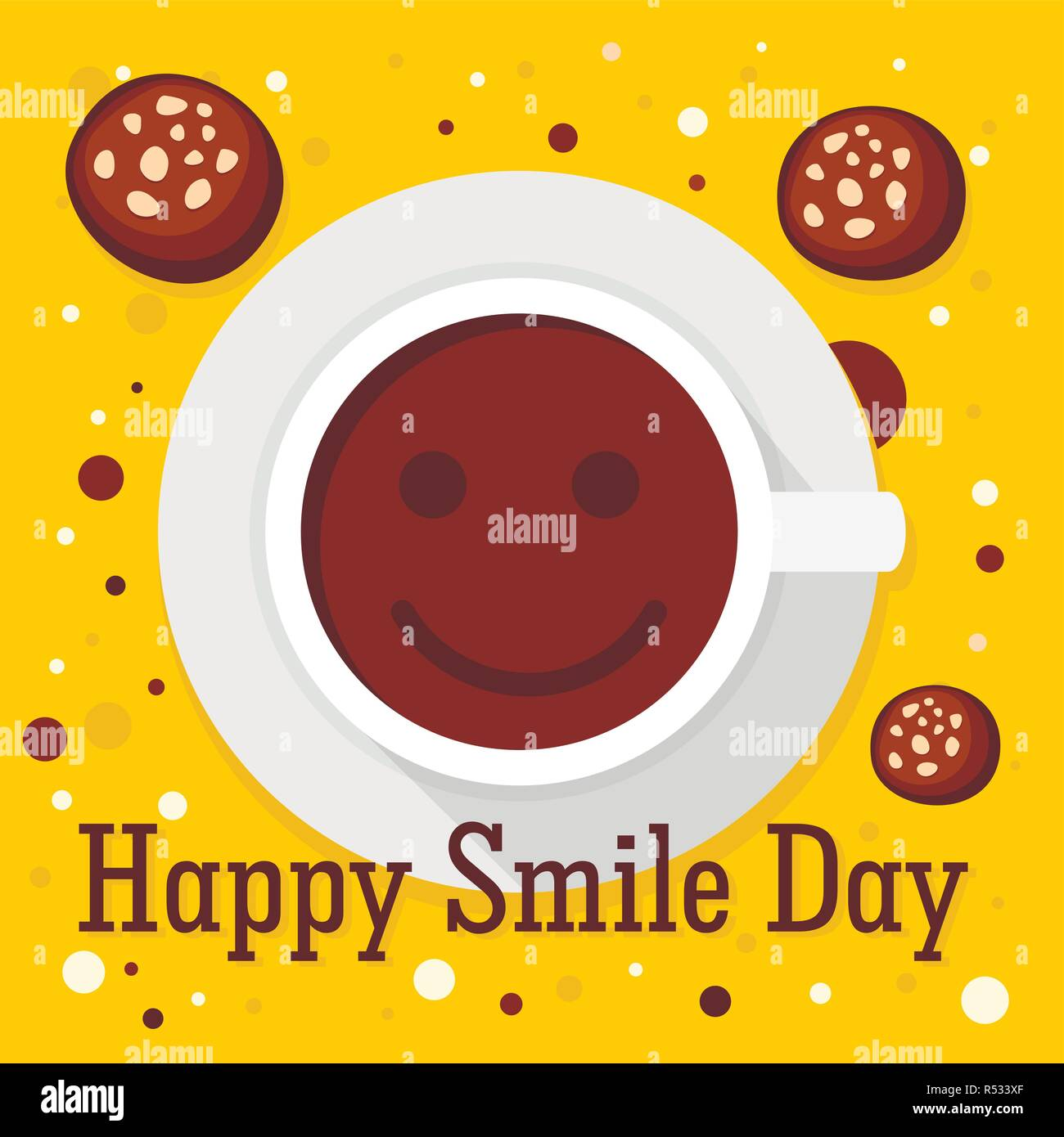 Happy smile coffee day concept background. Flat illustration of happy smile coffee day vector concept background for web design - Stock Vector