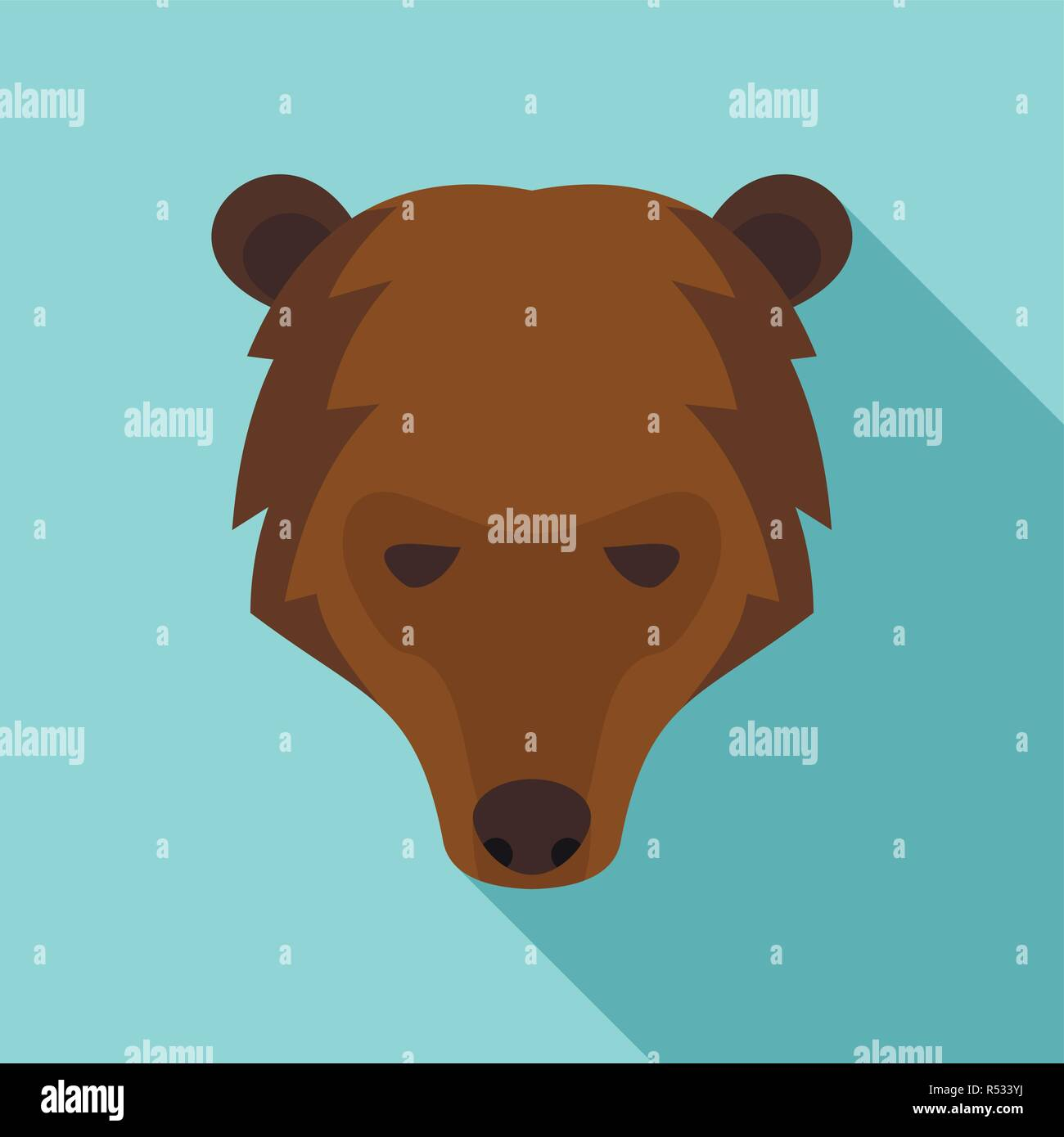 Siberian bear head icon. Flat illustration of siberian bear head vector icon for web design - Stock Vector