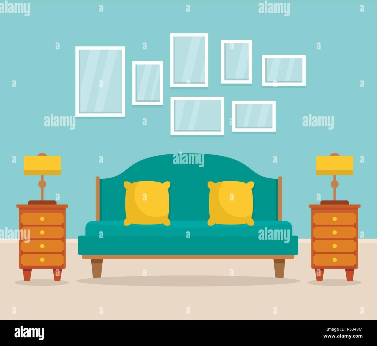 Bedroom interior concept background. Flat illustration of bedroom