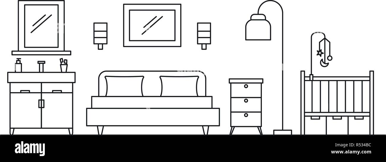 Bedroom Concept Background Outline Illustration Of Bedroom Vector