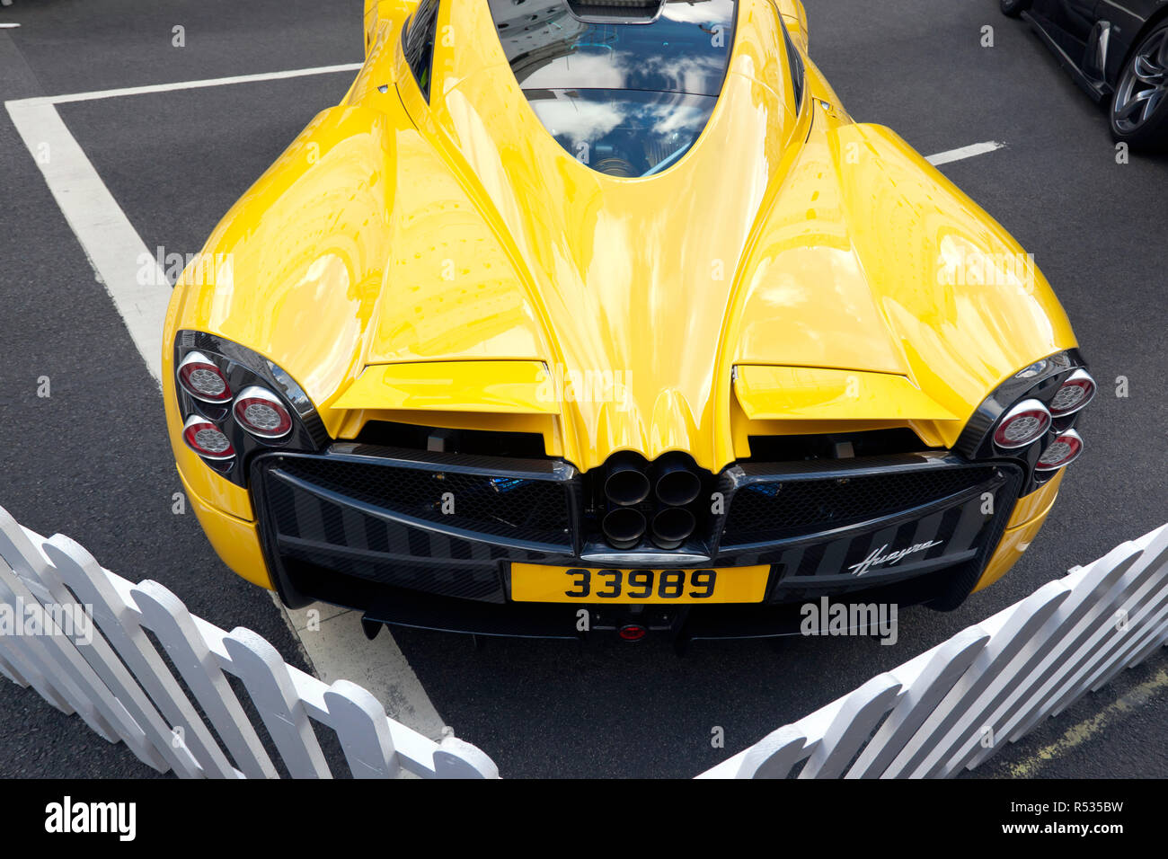 Rear view of a  Pagani Huayra, in the supercar paddock at the 2018 Regents Street Motor Show Stock Photo