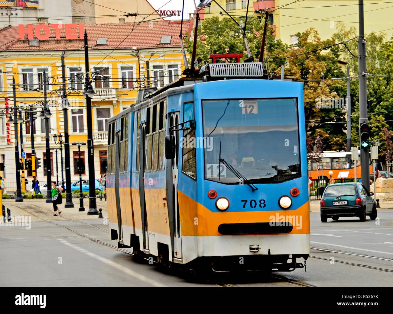 Tram in Sofia city centre, 2016 - Stock Image