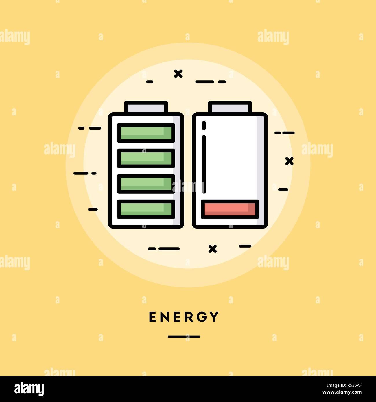 Energy, flat design thin line banner, vector illustration - Stock Vector