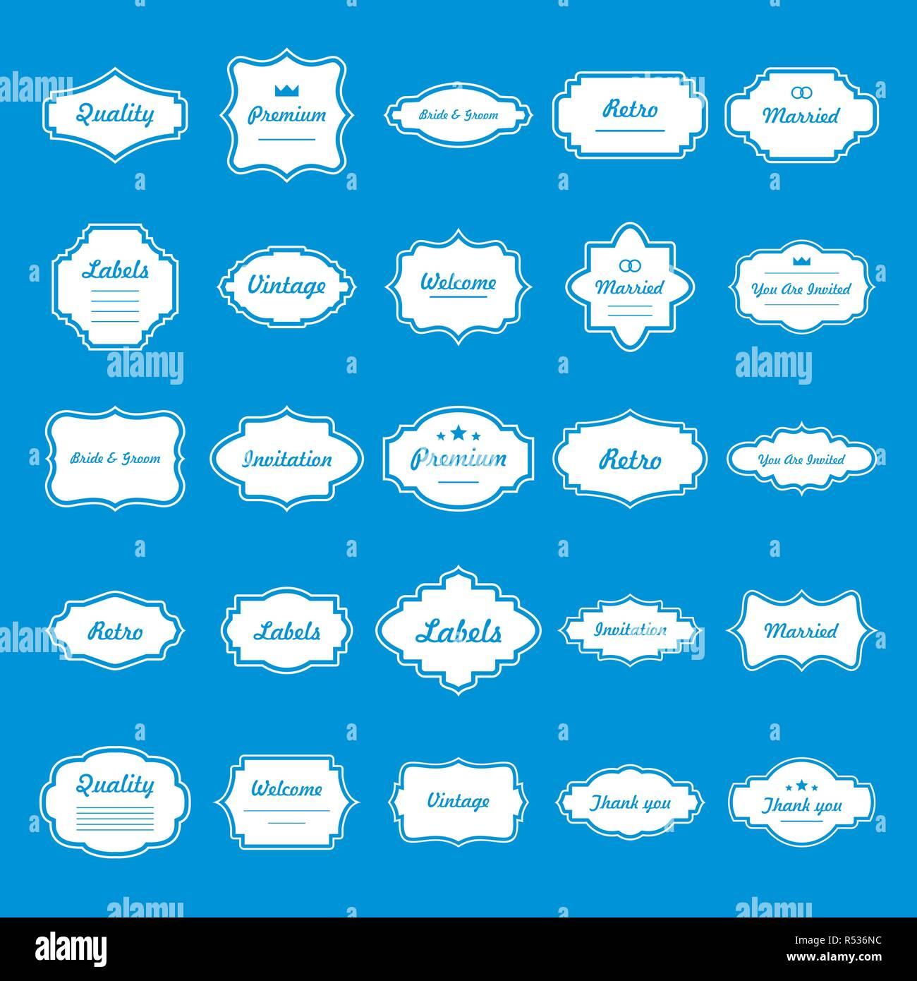 Vintage frame icons set. Simple illustration of 25 vintage frame vector icons for web - Stock Image