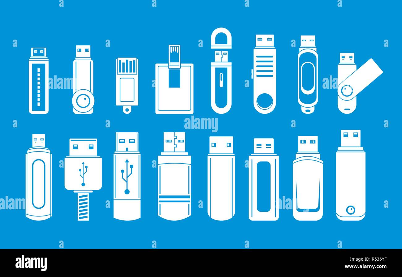 USB flash drive icons set. Simple illustration of 16 USB flash drive vector icons for web - Stock Image