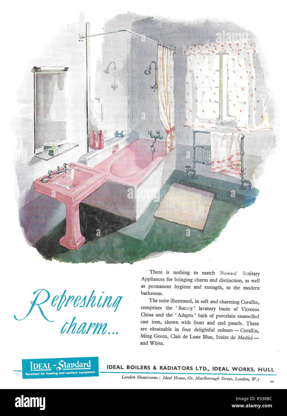 Ideal Standard bathroom advert advertising in Country Life magazine UK 1951 - Stock Image