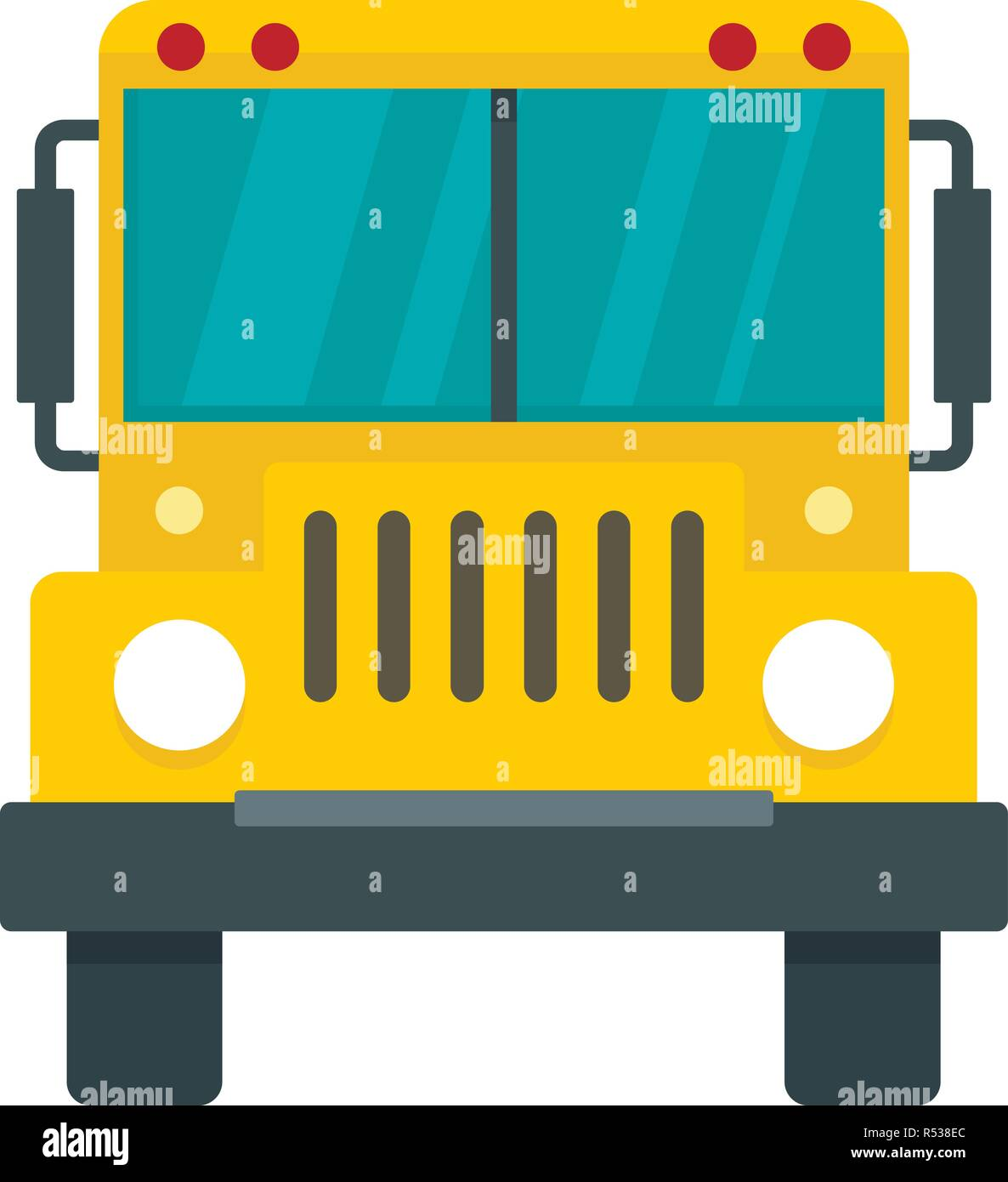 Front of school bus icon. Flat illustration of front of ...