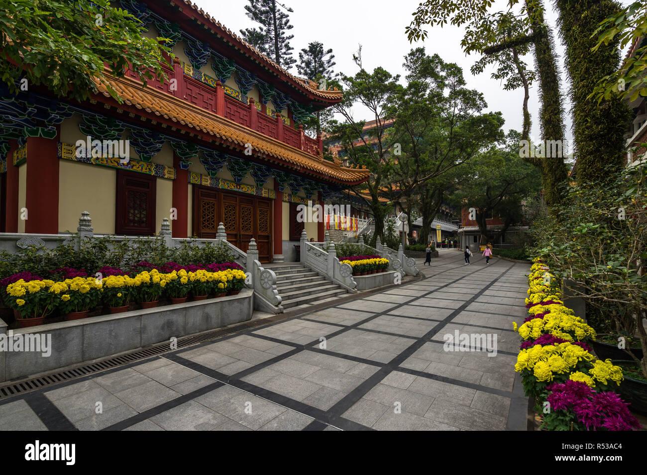 Exterior of Po Lin Monastery. Hong Kong, Ngong Ping, Lantau Island, January 2018 - Stock Image
