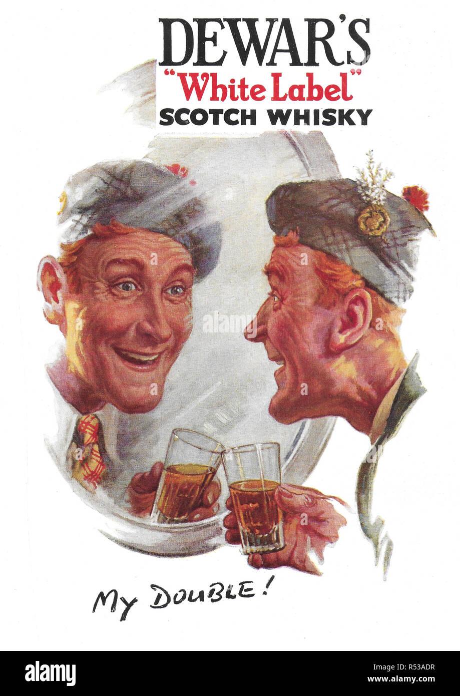 Dewar's white label whisky advert advertising in Country Life magazine UK 1951 - Stock Image