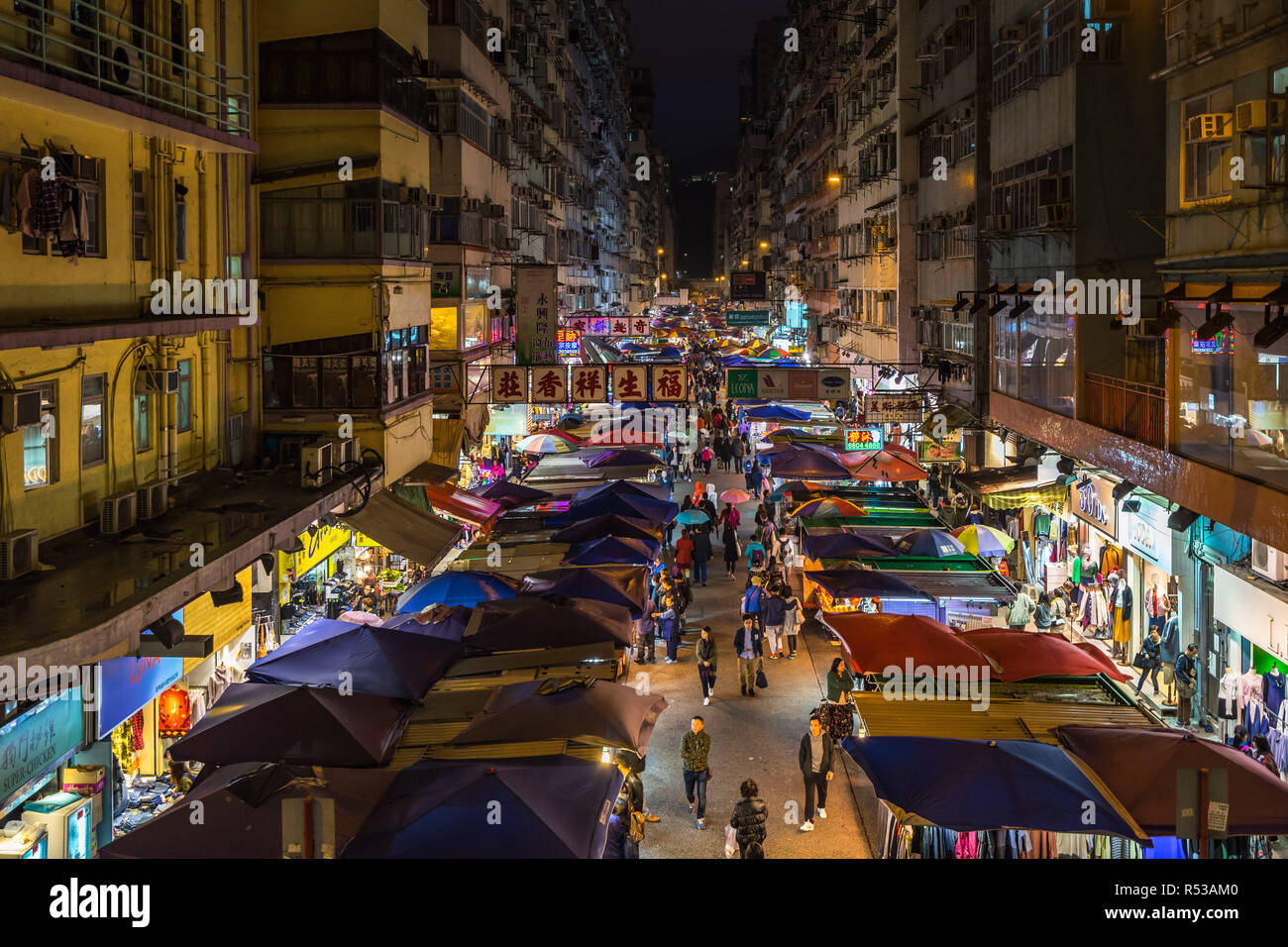 Night view of Fa Yuen street market in Mong Kok. Hong Kong markets are one of the most popular attraction of the city. Hong Kong, Kowloon - Stock Image