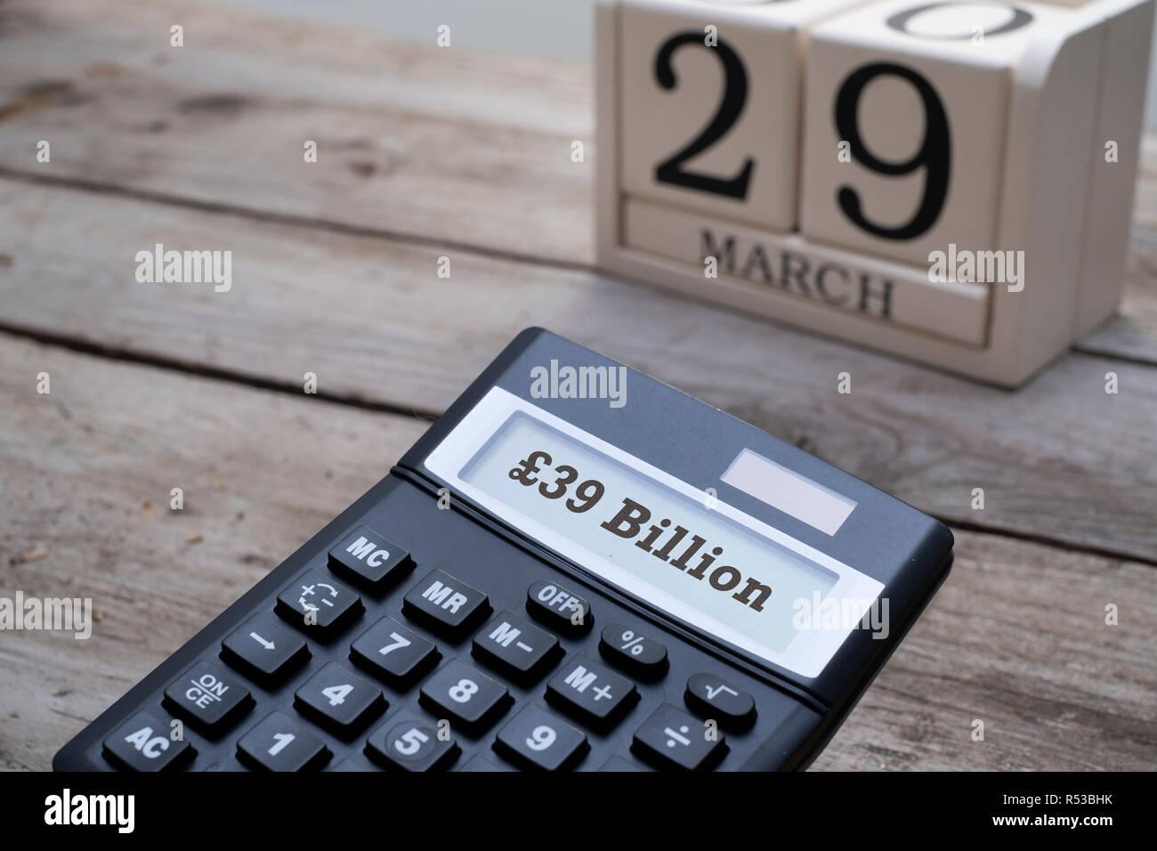 Brexit concept, calculator with date of 29th March - Stock Image