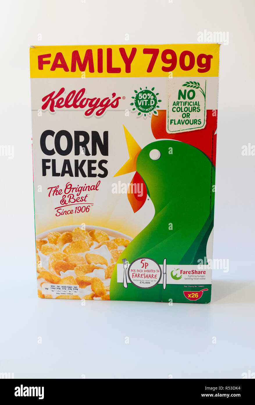 A packet of Kellogg's Corn Flakes. The company has now given in to the pressure to use the 'traffic light' labelling on most of their cereal products. - Stock Image