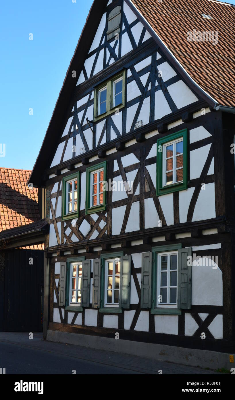renovated half-timbered house in kandel in the palatinate Stock Photo
