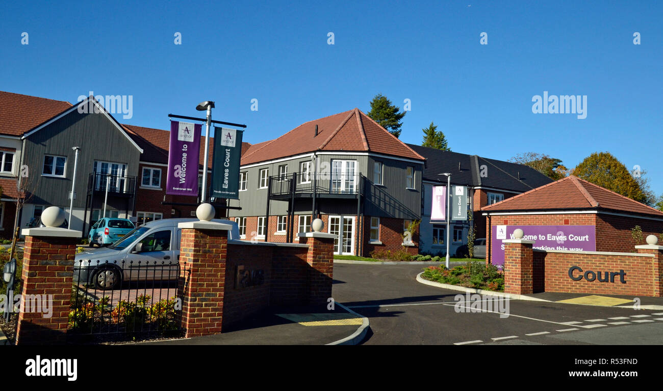 Eaves Court, new housing development in Princes Risborough, for retired people only. Buckinghamshire, UK - Stock Image
