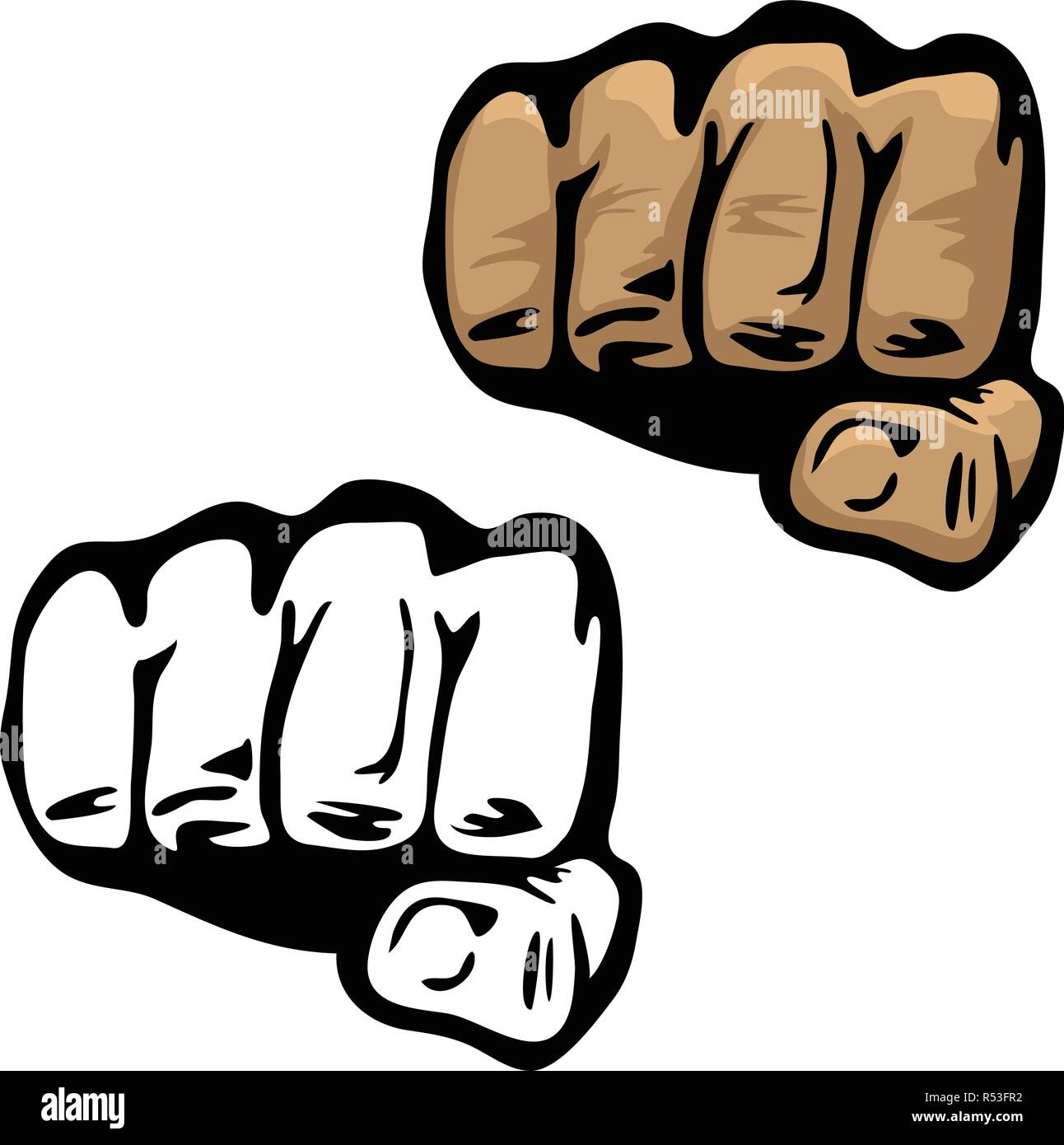 Fist Hand Vector Illustration in Color and Black and White - Stock Vector
