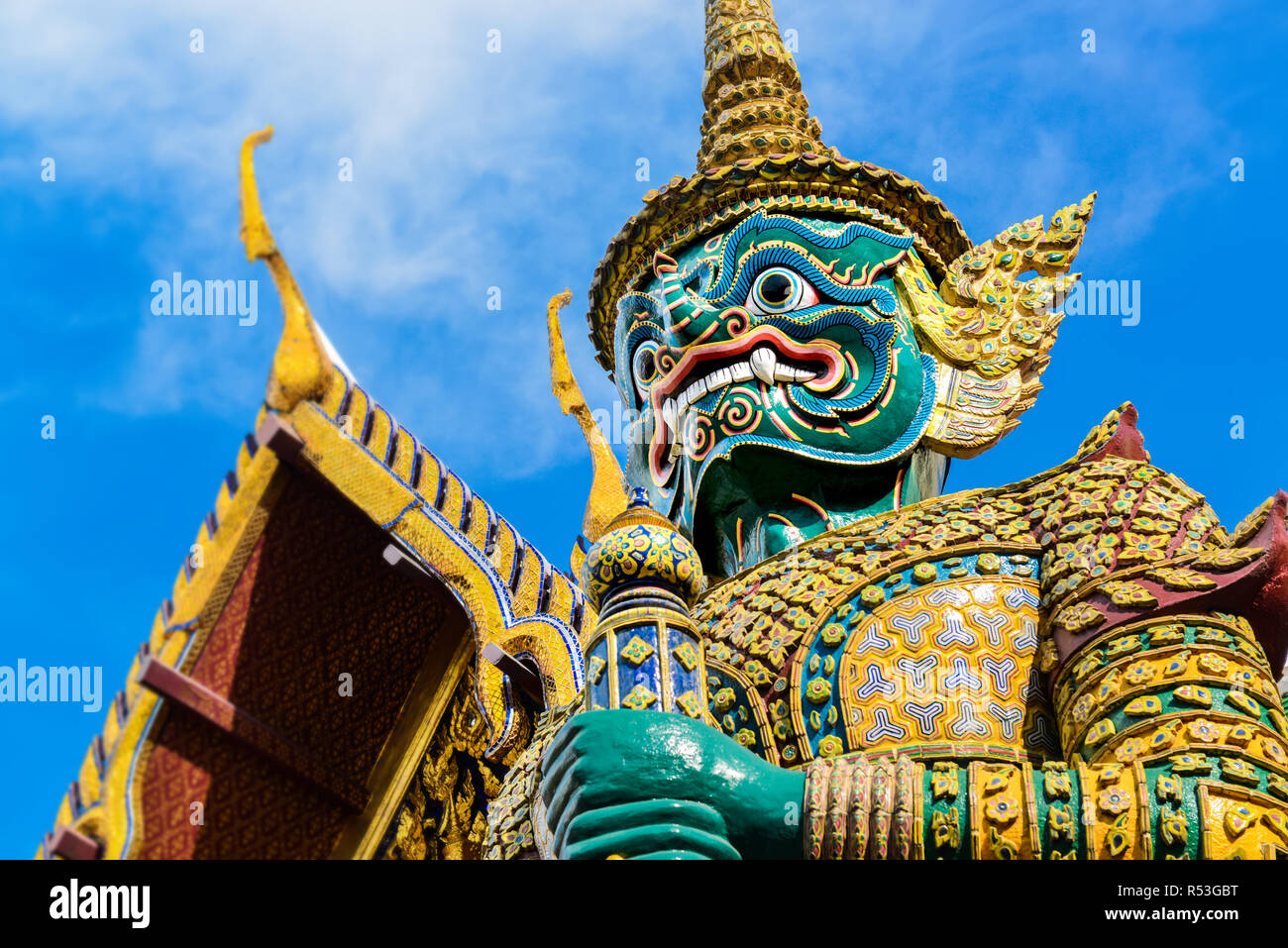 Demon Guardian statue at the grand palace Thailand  from free royalty photo place area. - Stock Image