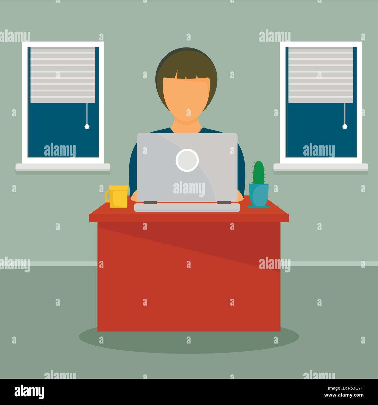 Woman distant work concept background. Flat illustration of woman distant work vector concept background for web design - Stock Image