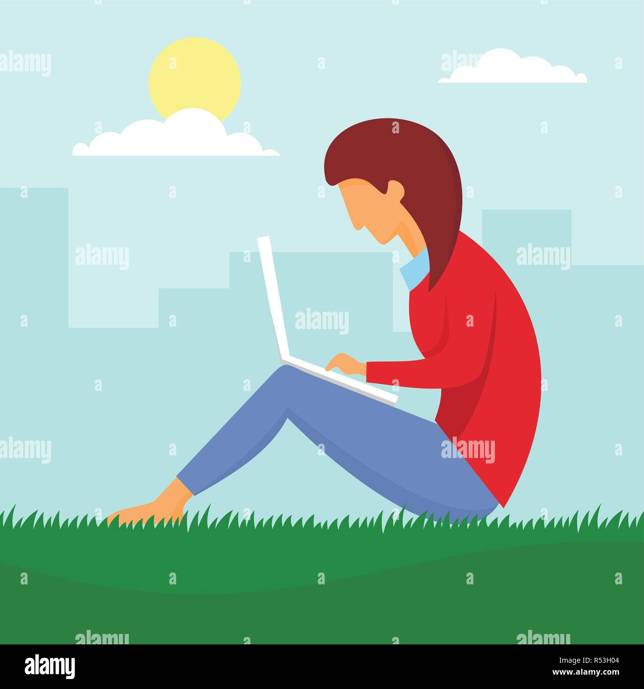 Girl outdoor distant work concept background. Flat illustration of girl outdoor distant work vector concept background for web design - Stock Image