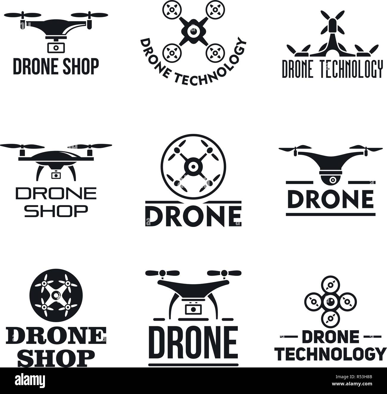 Drone logo set. Simple set of drone vector logo for web design on white background - Stock Image